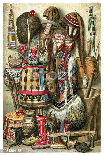 North asian tribal culture objects illustration 1896 Original edition from my own archives Source :