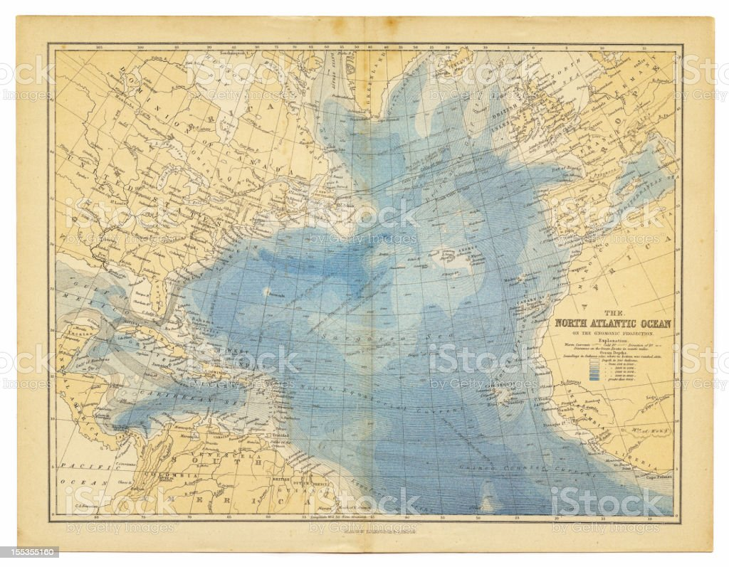 north atlantic ocean map 1882 vector art illustration