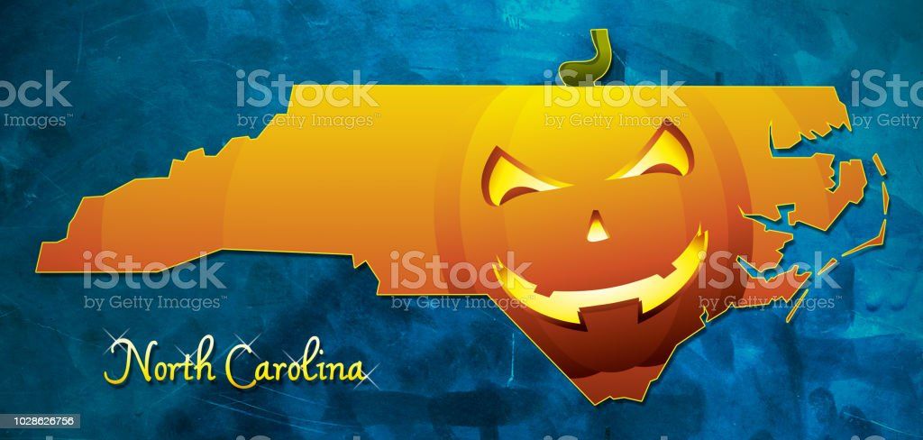 North Carolina State Map Usa With Halloween Pumpkin Face ...