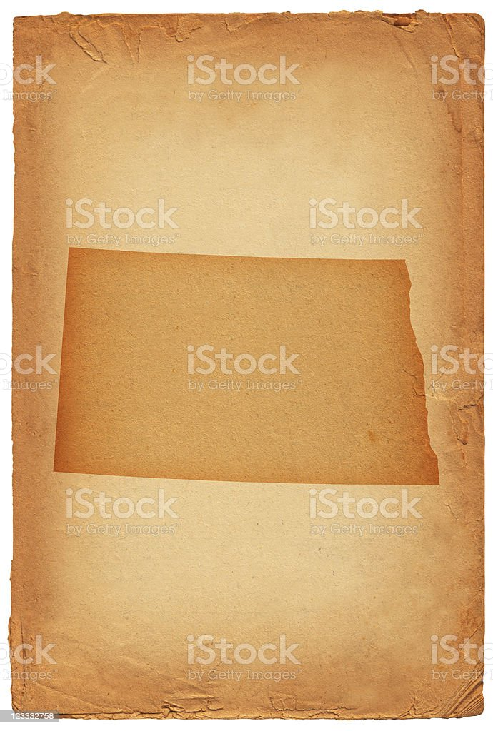 North Dakota state map on old paper Background royalty-free stock vector art