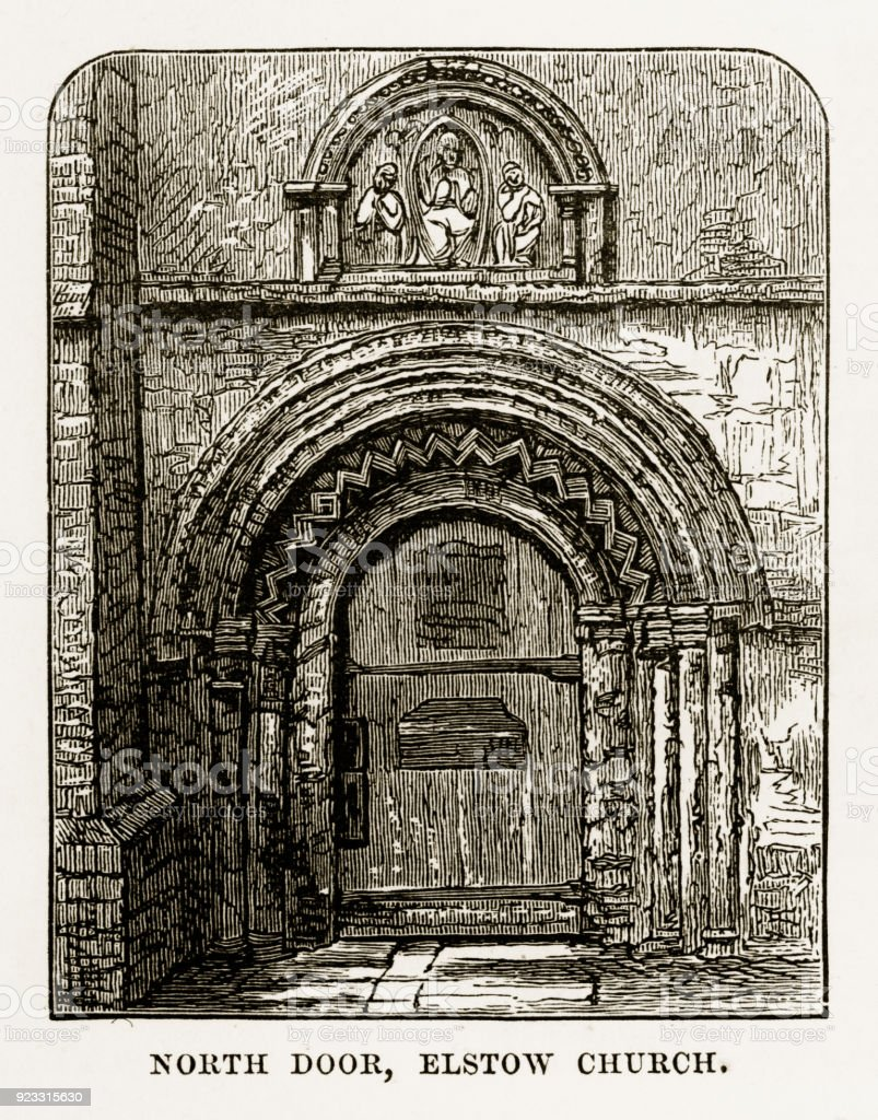 North Door of Elstow Church, Bedford, England Victorian Engraving, 1840 vector art illustration