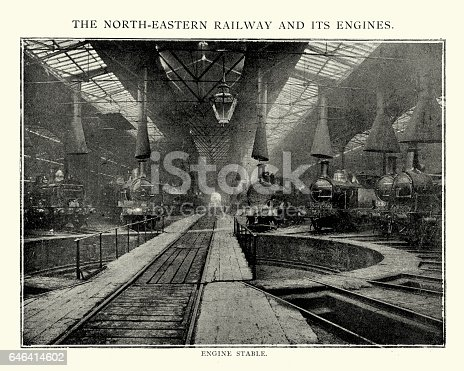 Vintage engraving of the engine stable of the North Easten Railway Factory, 1892