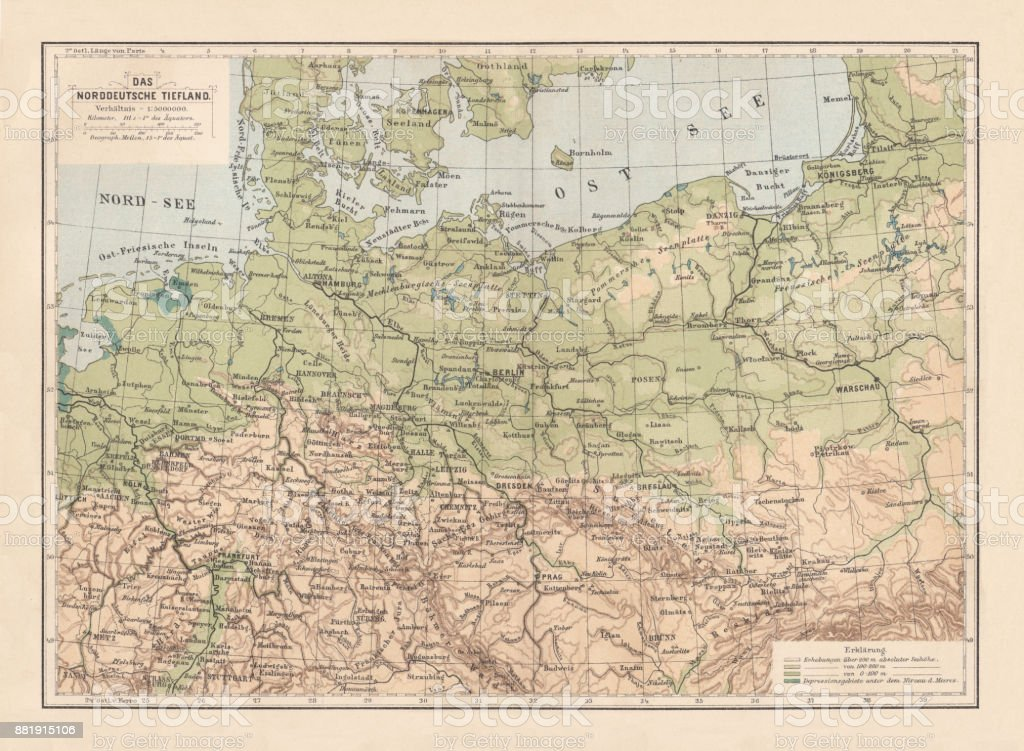 North German lowland map, 19th century view, lithograph, published 1884 vector art illustration