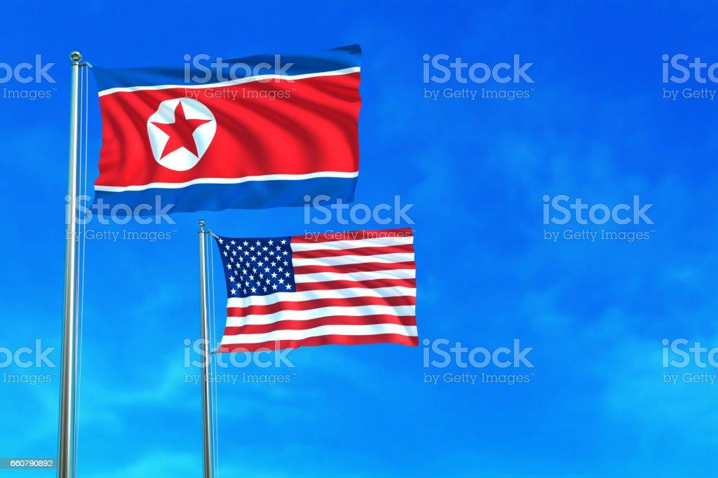 North Korea and United States (USA) flags. vector art illustration