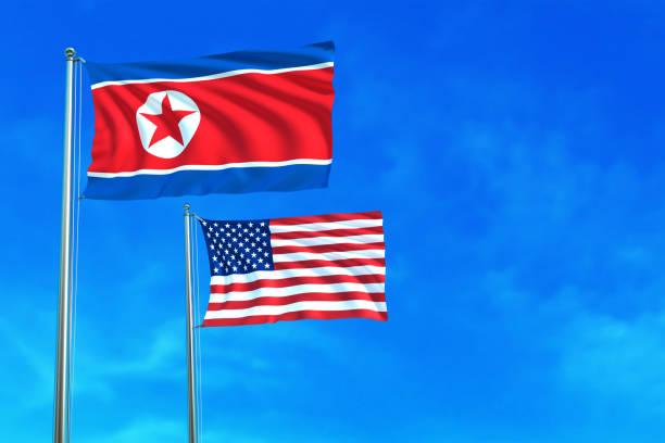 ilustraciones, imágenes clip art, dibujos animados e iconos de stock de banderas de corea del norte y estados unidos (eeuu). - bandera coreana