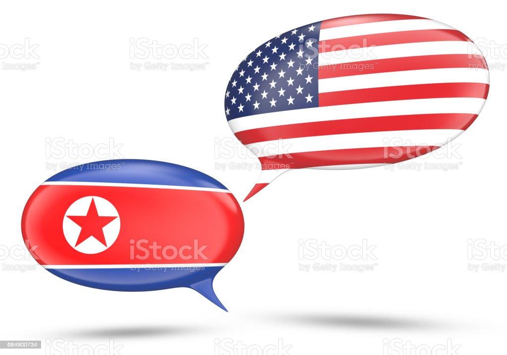 Concepto de relaciones de Corea del norte y Estados Unidos con burbujas de discurso, 3D rendering - ilustración de arte vectorial