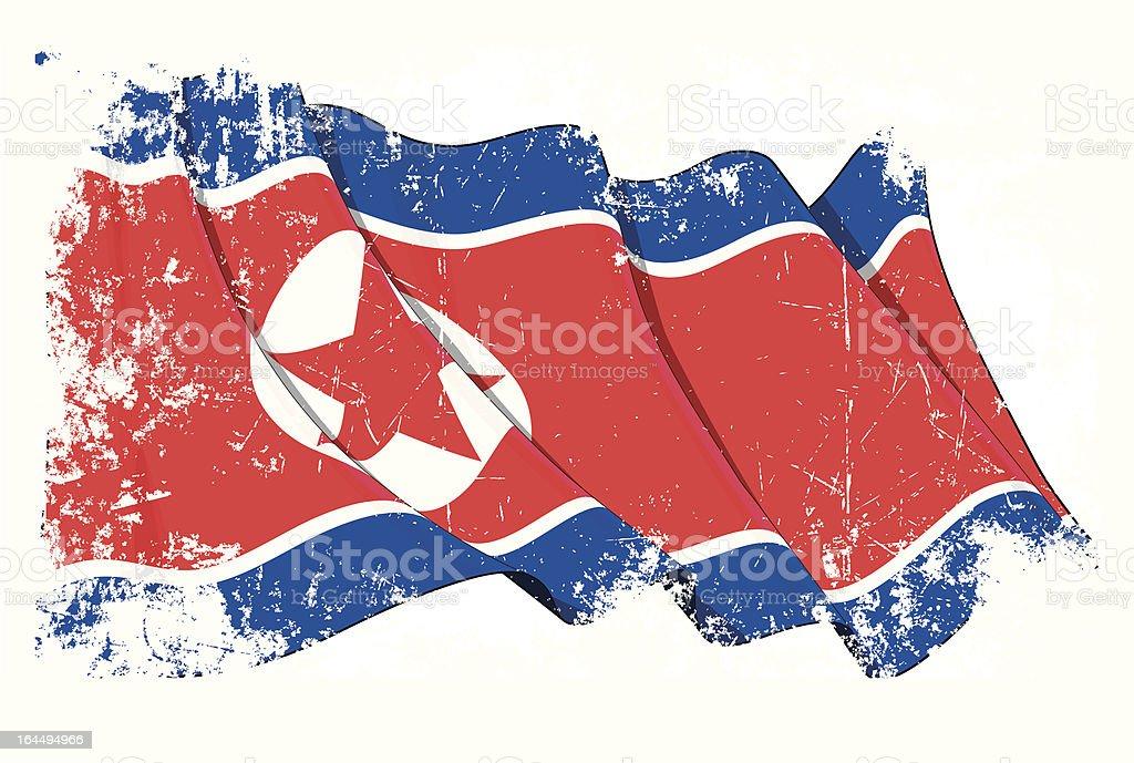 North Korea Flag Grunge vector art illustration