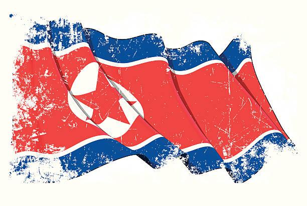 ilustraciones, imágenes clip art, dibujos animados e iconos de stock de grunge de bandera de corea del norte - bandera coreana