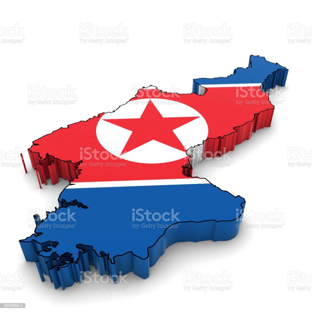 North Korea Map Outline with North Korean Flag 3D Illustration vector art illustration