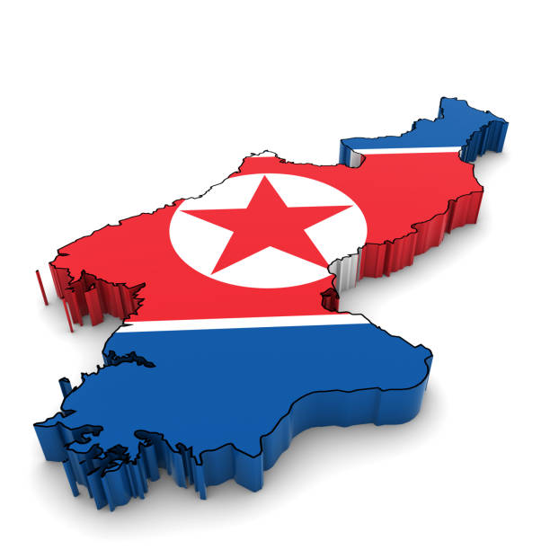 ilustraciones, imágenes clip art, dibujos animados e iconos de stock de north korea map outline with north korean flag 3d illustration - bandera coreana