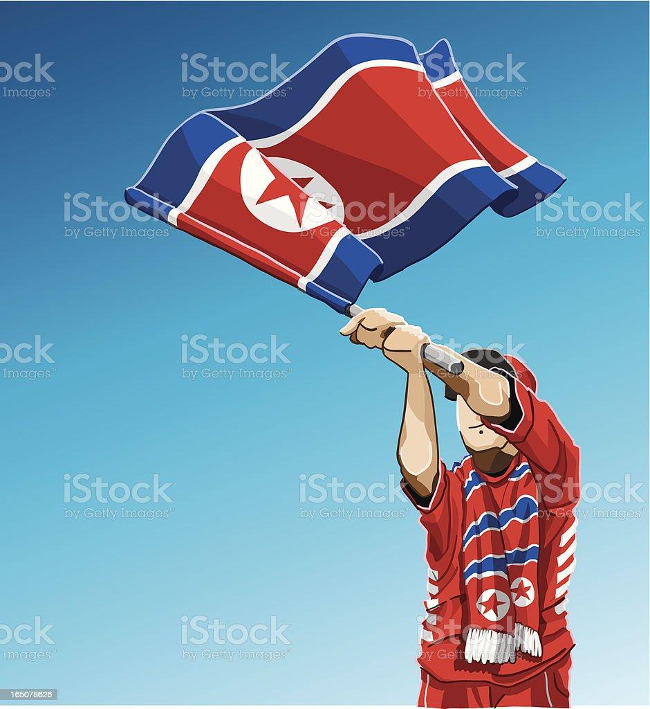 A Coreia do Norte acenando a bandeira fã de futebol - ilustração de arte em vetor