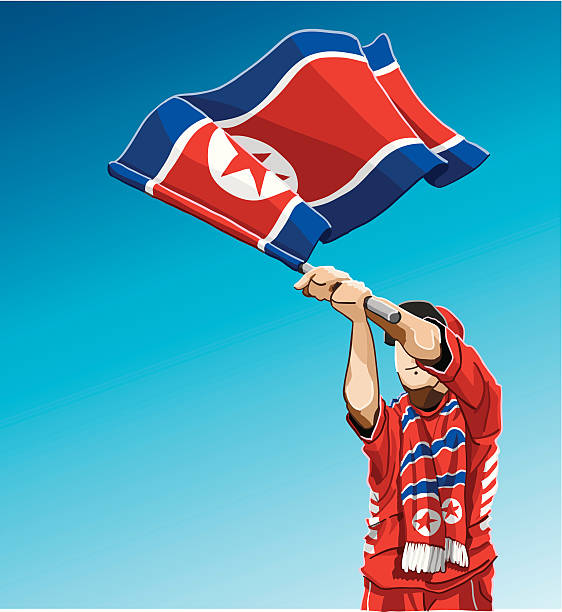 ilustrações, clipart, desenhos animados e ícones de a coreia do norte acenando a bandeira fã de futebol - bandeira da coreia