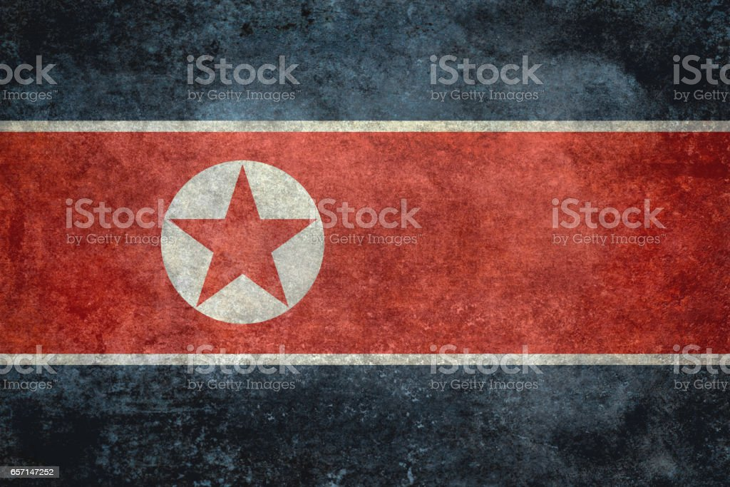 North Korean flag with grungy distressed textures vector art illustration