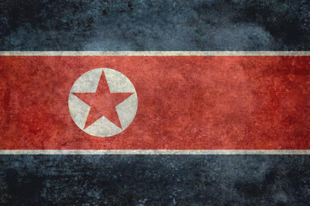 ilustraciones, imágenes clip art, dibujos animados e iconos de stock de bandera corea del norte con grunge texturas apenados - bandera coreana