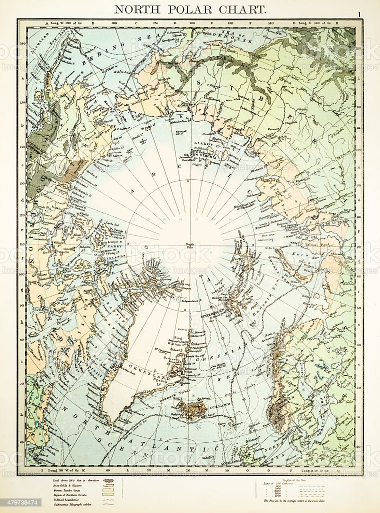 North Polar Chart 1897 vector art illustration