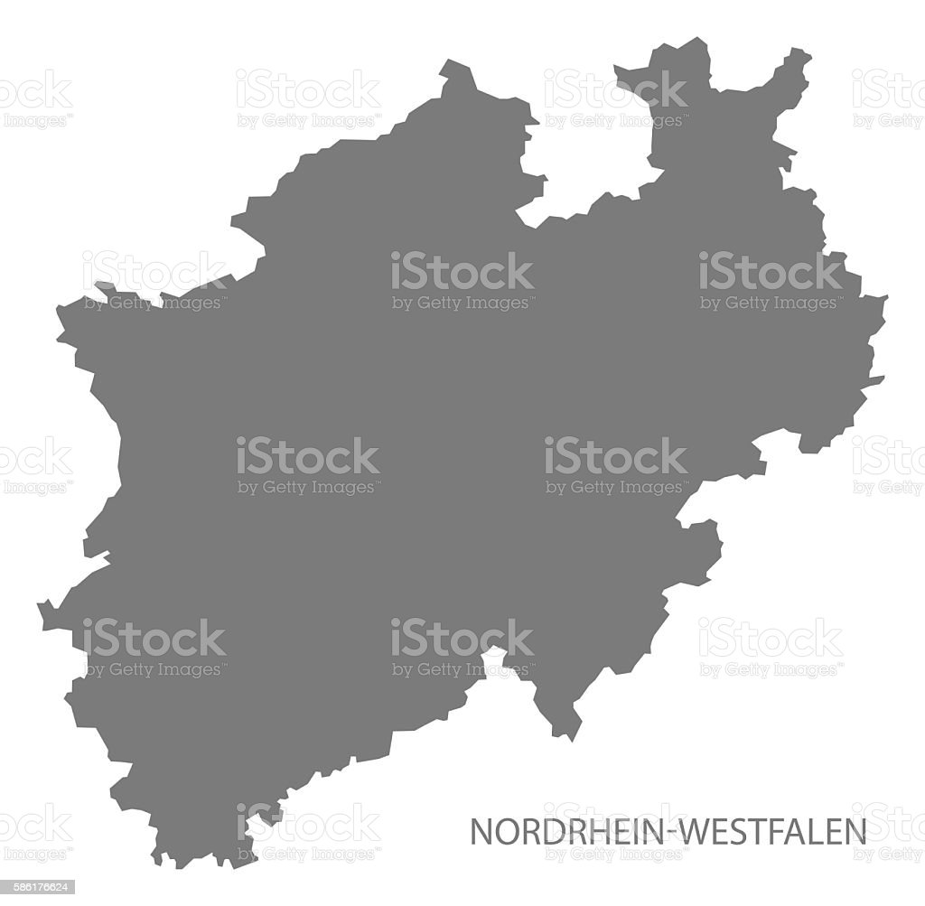 Nordrhein-Westfalen Germany Map grey vector art illustration