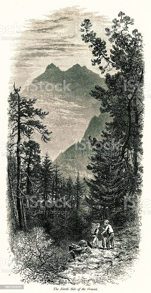 North side of Gemmi Pass, Switzerland I Antique European Illustrations royalty-free stock vector art