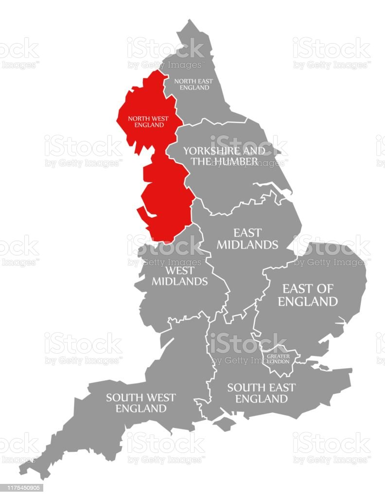 Map Of North Of England Uk.North West England Red Highlighted In Map Of England Uk