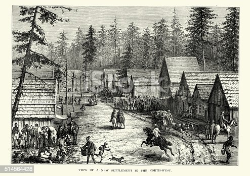 Vintage engraving showing a North West Frontier town in the 19th Century