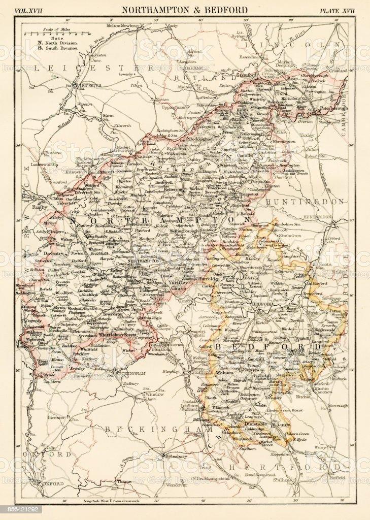 Northampton map 1884 vector art illustration
