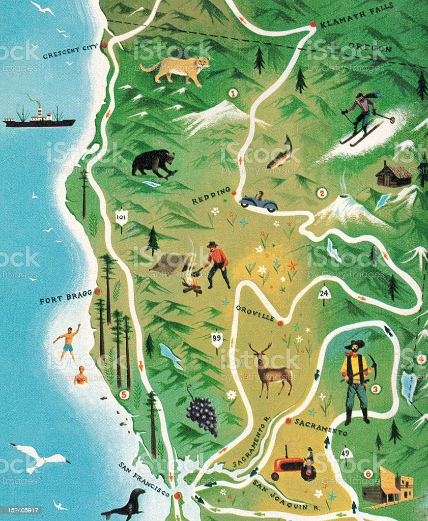 Northern California Map royalty-free stock vector art