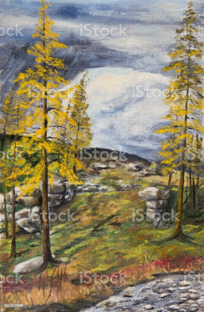 Northern landscape with yellow larches vector art illustration