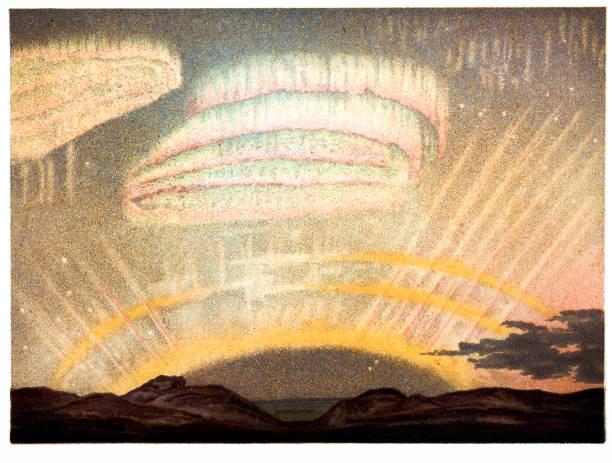 Northern Lights com arco, os raios e cortinas - ilustração de arte em vetor