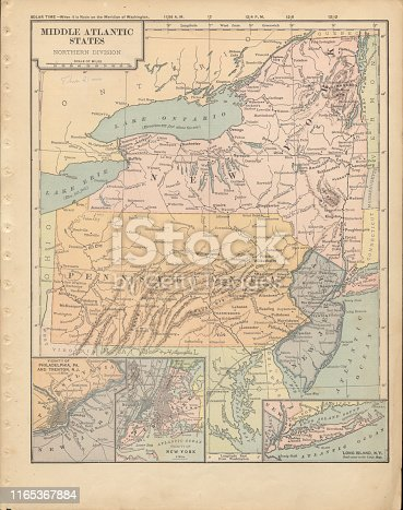 Very Rare, Beautifully Illustrated Antique Victorian Engraved Colored Map of The Northern Middle Atlantic States of the United States of America, Published in 1899. Source: Original edition from my own archives. Copyright has expired on this artwork. Digitally restored.