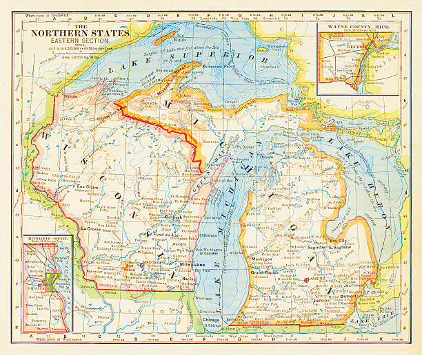 1883 northern states map - lake superior stock illustrations, clip art, cartoons, & icons