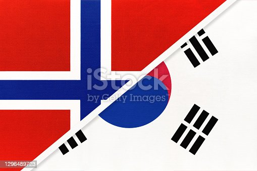 istock Norway and South Korea or ROK, symbol of national flags from textile. 1296489723