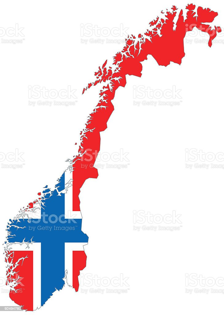Norway Scandinavia Map with Norwegian Flag royalty-free norway scandinavia map with norwegian flag stock vector art & more images of cartography