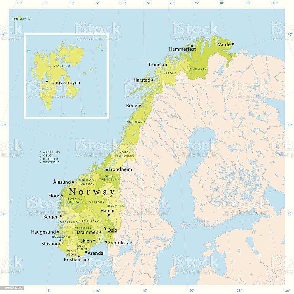 Norway Vector Map vector art illustration