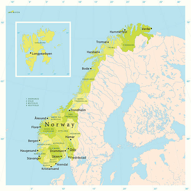 illustrazioni stock, clip art, cartoni animati e icone di tendenza di norvegia vettore mappa - fiordi
