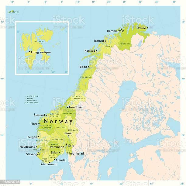 La Norvegia Cartina.Norvegia Vettore Mappa Immagini Vettoriali Stock E Altre Immagini Di Bergen Istock