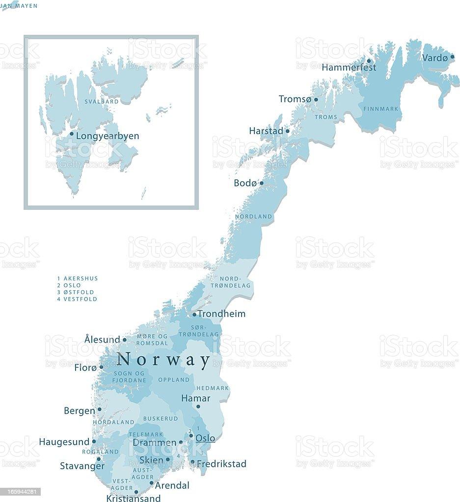 Norway Vector Map Regions Isolated vector art illustration