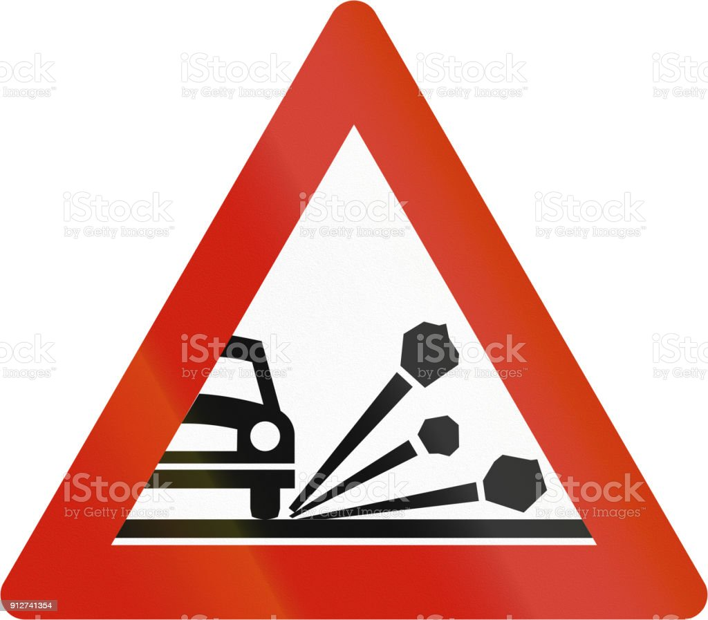Norwegian road warning sign - Loose chippings vector art illustration