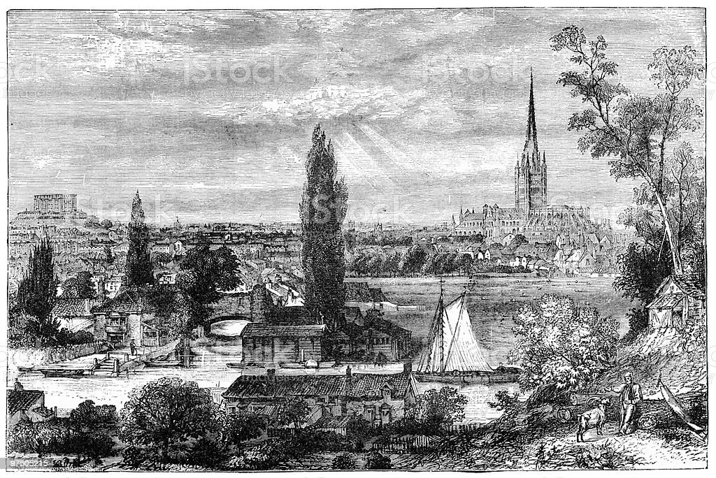 Norwich from the Meadows, 1879 royalty-free norwich from the meadows 1879 stock vector art & more images of 19th century style