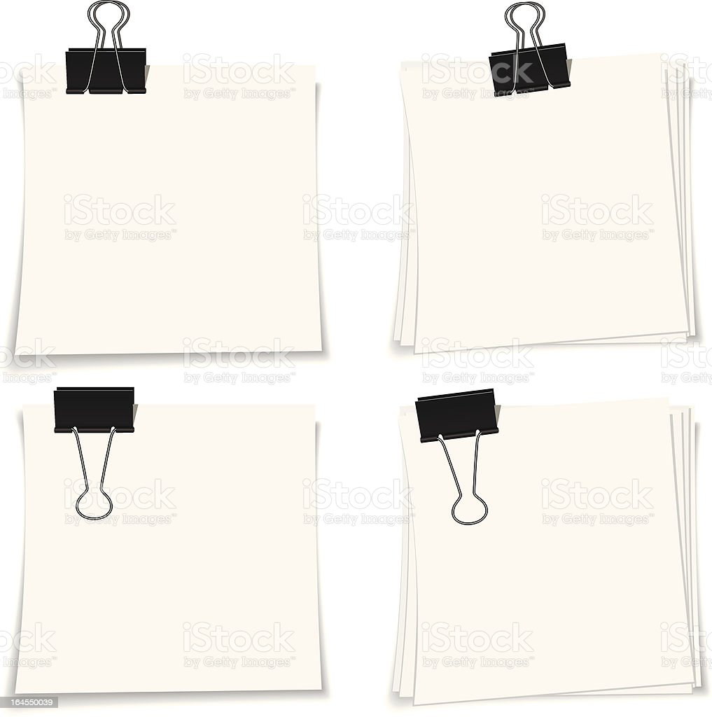 Note Paper and Clip royalty-free stock vector art