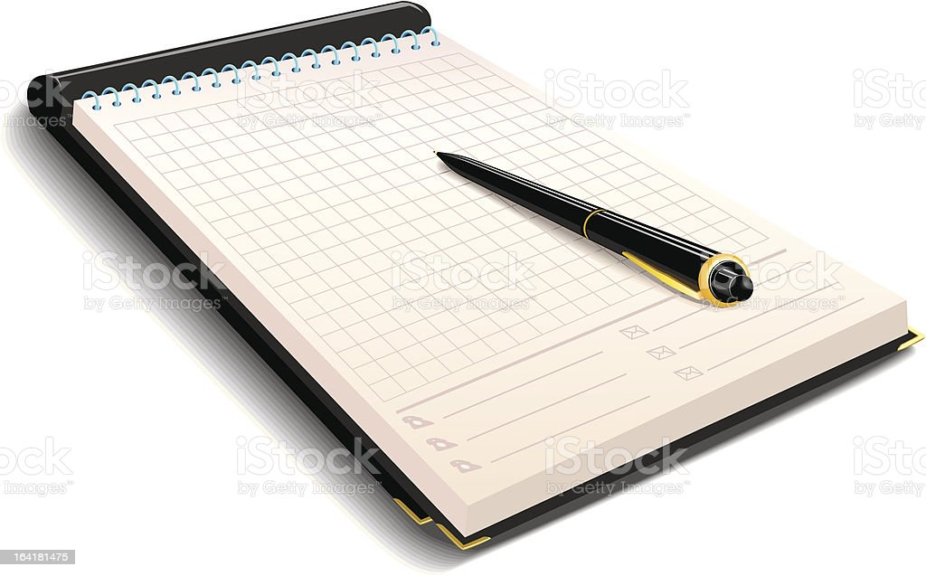 Notebook with pen royalty-free stock vector art