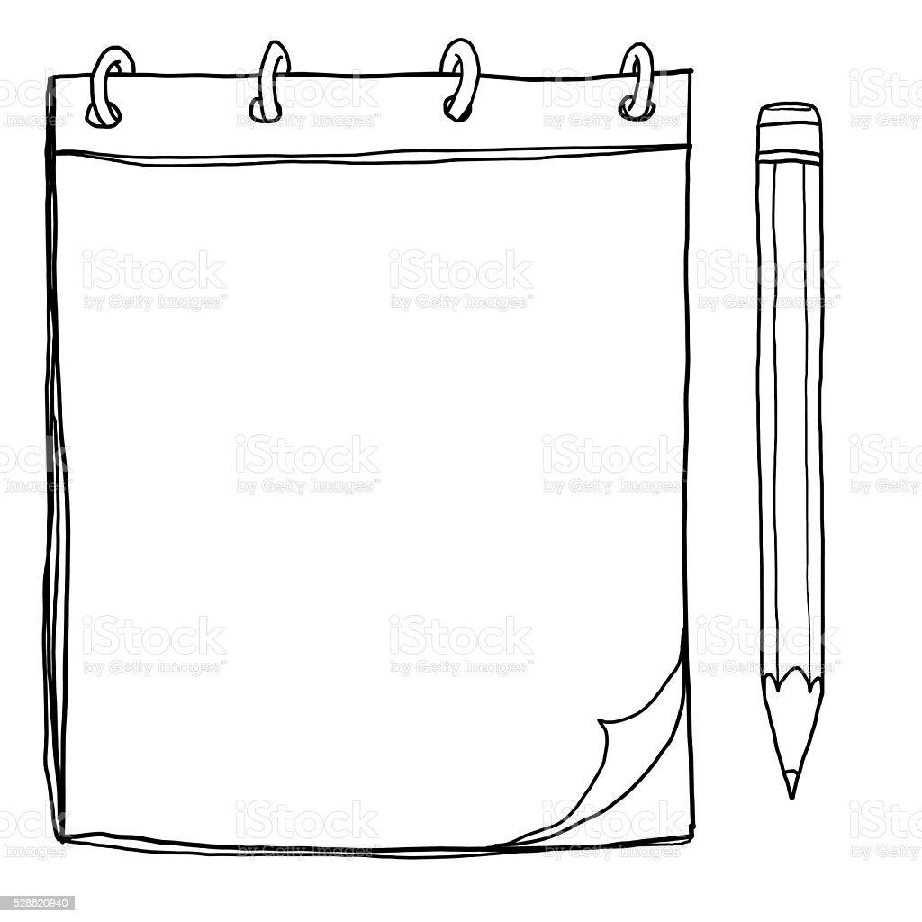Vetores De Caderno Com Lapis Lineart Bonito Ilustracao E Pintura E