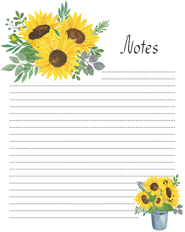 Notes blank page template with floral decoration watercolor illustration, yellow sunflowers, green leaves, flower bouquet printable personal diary