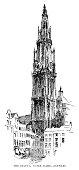 Notre Dame Belfry in Antwerp - Scanned 1890 Engraving