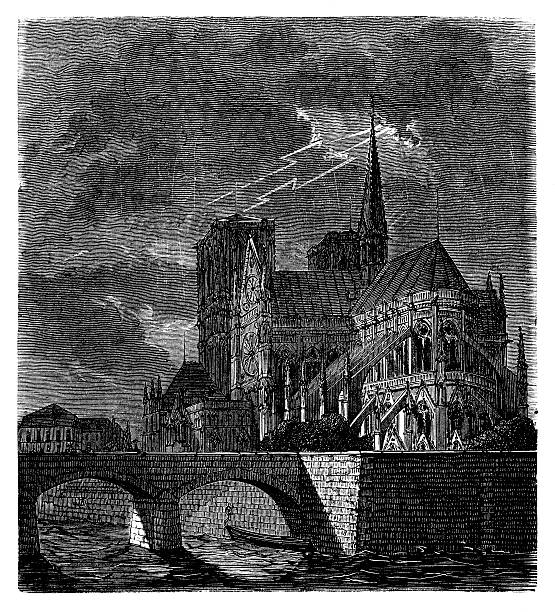 Notre Dame de Paris being struck by lightning Notre Dame de Paris being struck by lightning - Scanned 1870 Engraving seine river stock illustrations