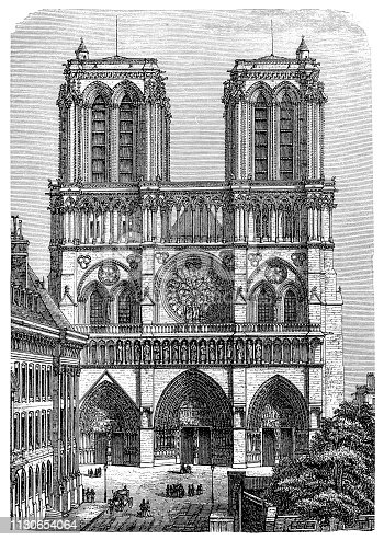 Illustration of a Notre Dame in Paris, France