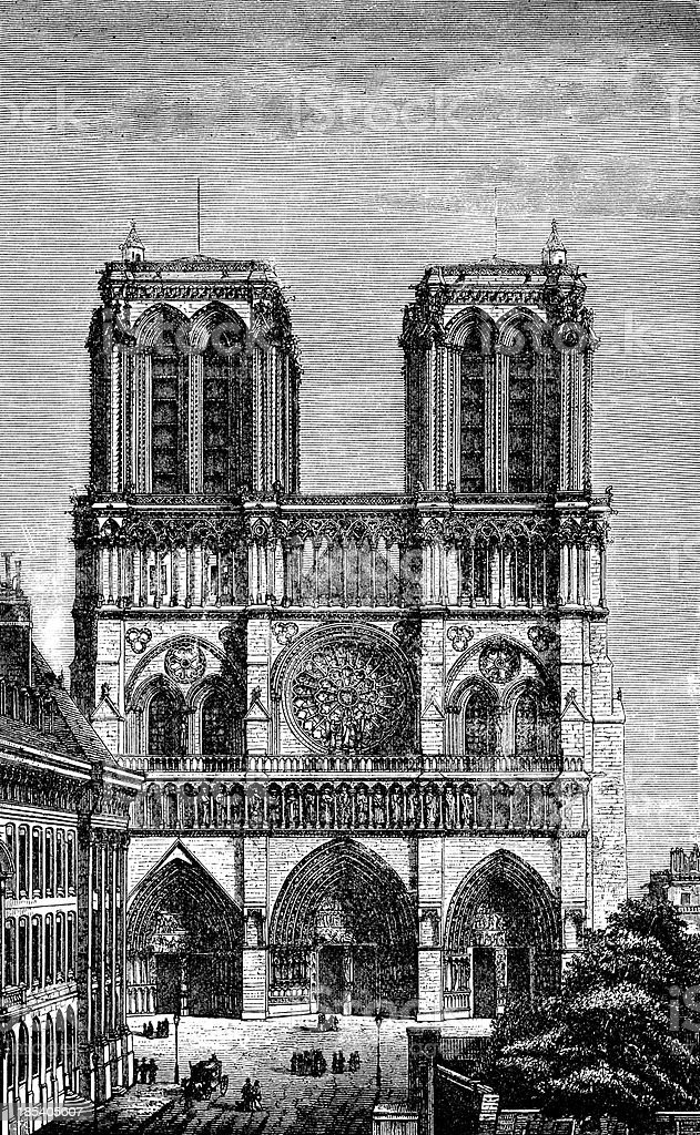 Notre Dame In Paris, France royalty-free stock vector art