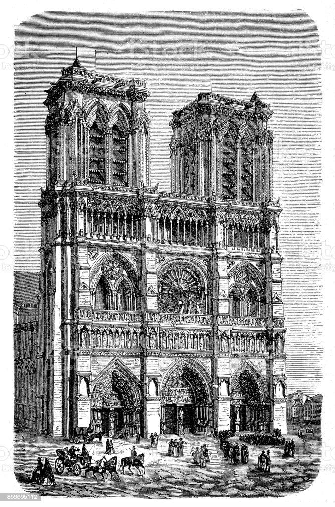 Notre Dame De Paris Disegno.Notre Dame In Paris France Stock Illustration Download Image Now