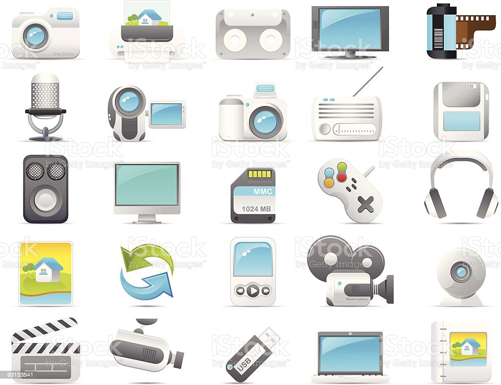 Nouve icon set: Media and Electronics royalty-free stock vector art