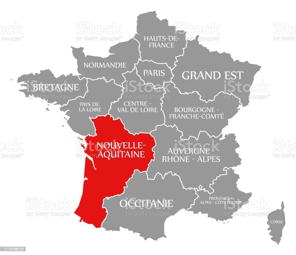Le Rouge De La Nouvelleaquitaine Surlais Sur La Carte De ...