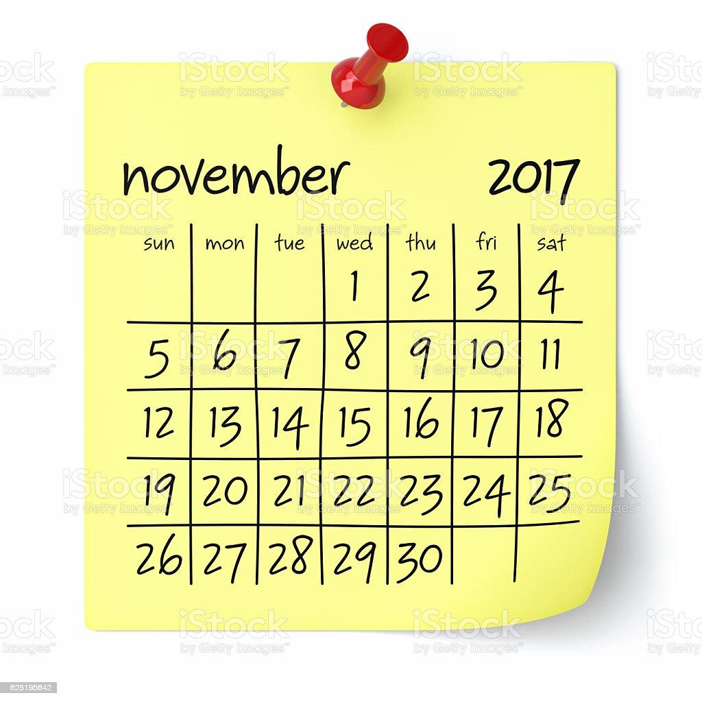 November 2017 - Calendar vector art illustration