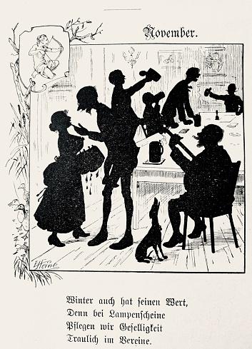 November joy, indoor socializing, german poem